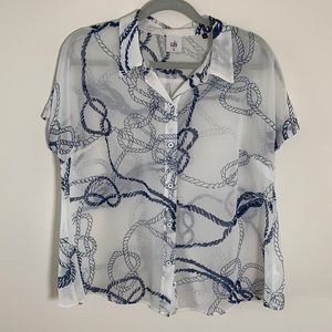 Cabi boating button down sheer short sleeve top